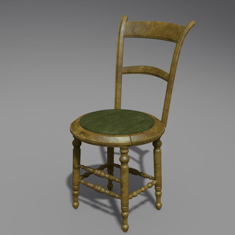 3d antique chair polys model