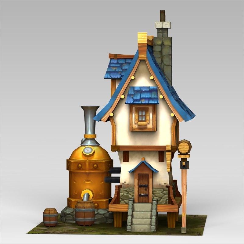 fantasy home 3d obj