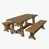 Wooden Table, Bench and Stool