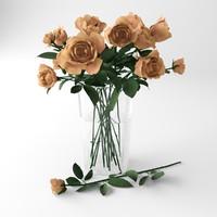 3d bouquet orange roses