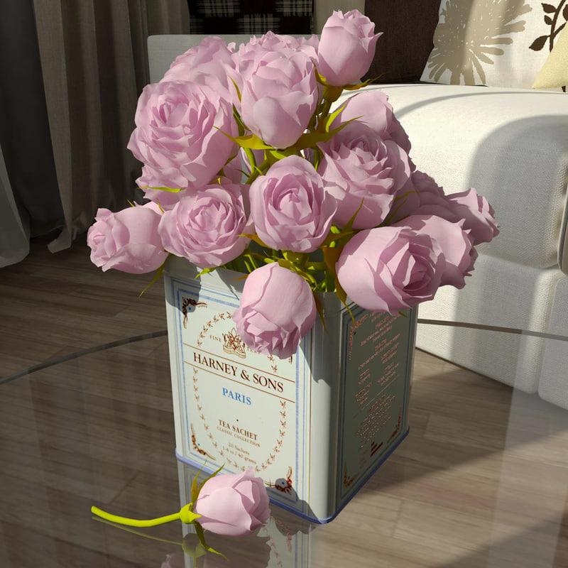 roses modelled settings 3d model