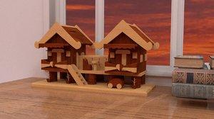 3d decoration wooden house
