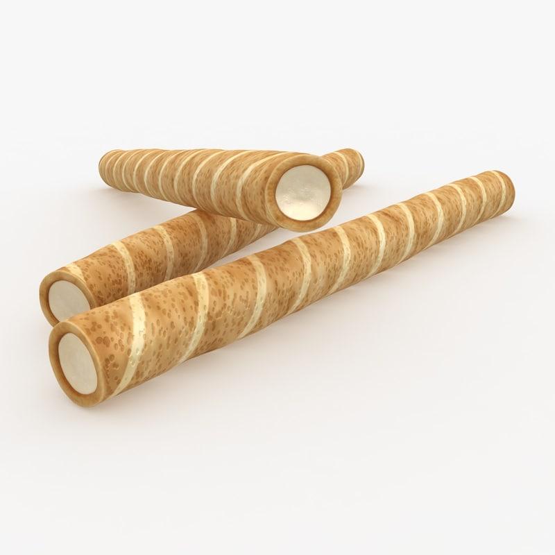 realistic wafer rolls vanilla 3d max