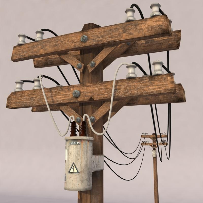 3d model old wood pole