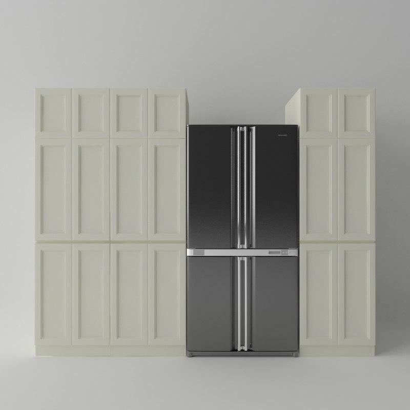 fridge kitchen cabinets 3d model