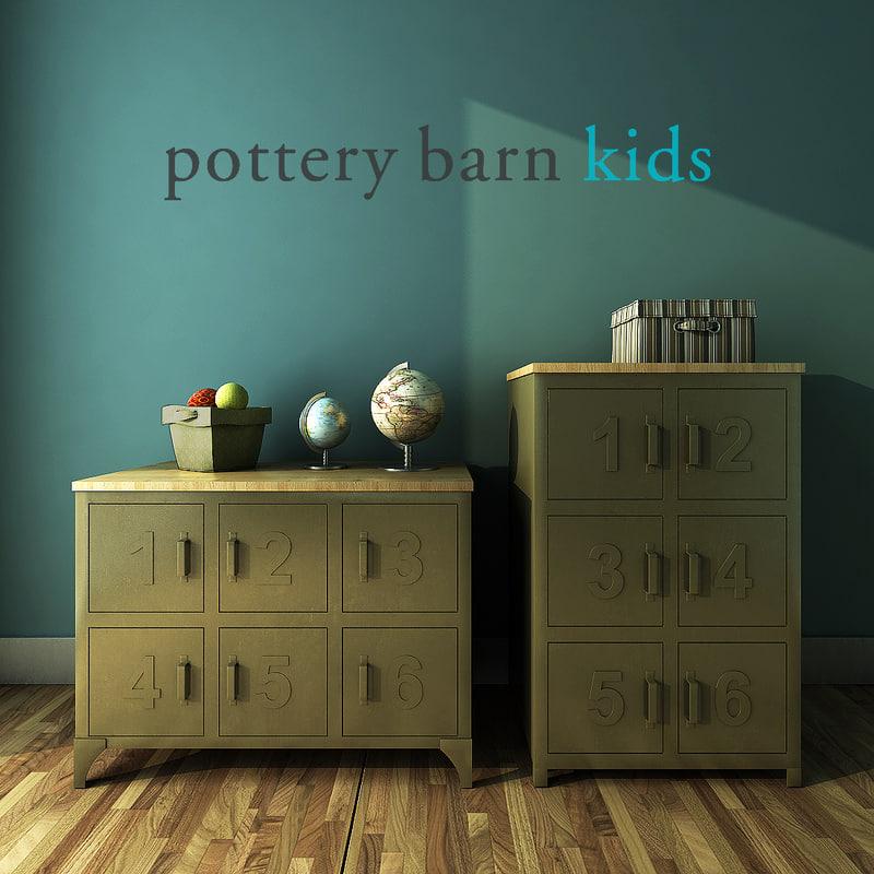 3d pottery barn kids metal model. Black Bedroom Furniture Sets. Home Design Ideas