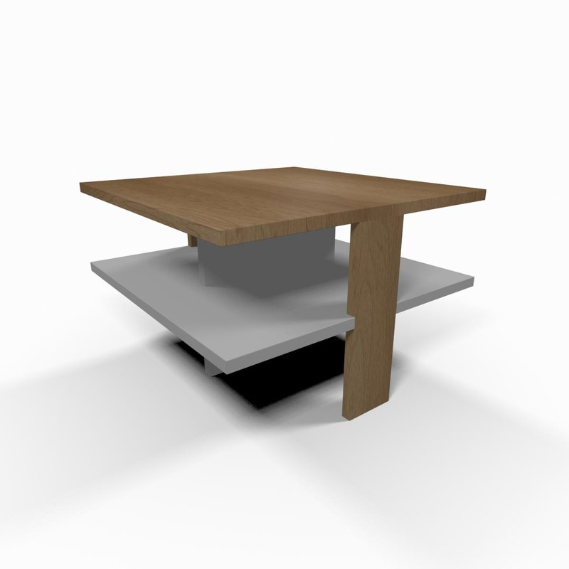 3d model simple wooden coffee table