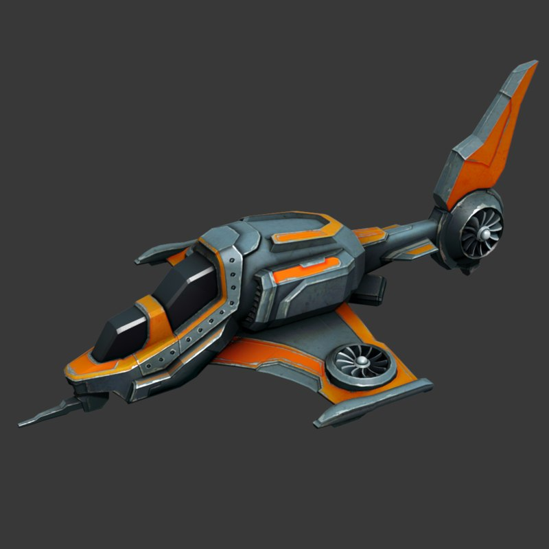 Sci-fi Air plane (low poly game model)