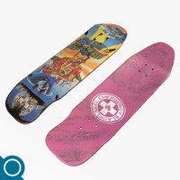 hawaiian pool deck skateboard 3d max