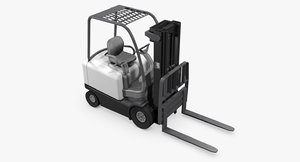 4-wheel sit-down counterbalance forklift 3d max