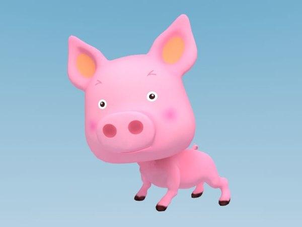 3d model cartoon pig