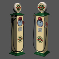 Antique Clockface Gas Pump 3D Model