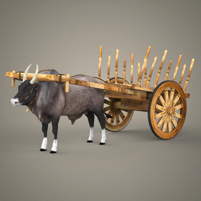 realistic ox cart 3d lwo