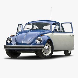 3d model of volkswagen beetle 1966 rigged