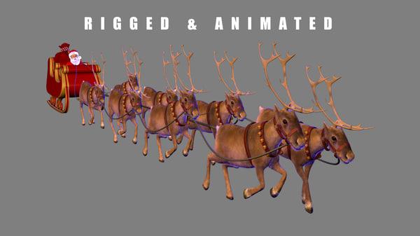 3d santa sleigh reindeer