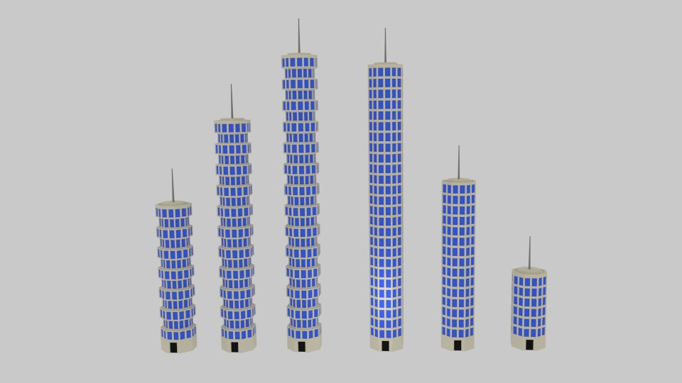 toon skyscrapers pack 3ds