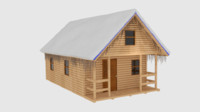 3ds max winter log cabin