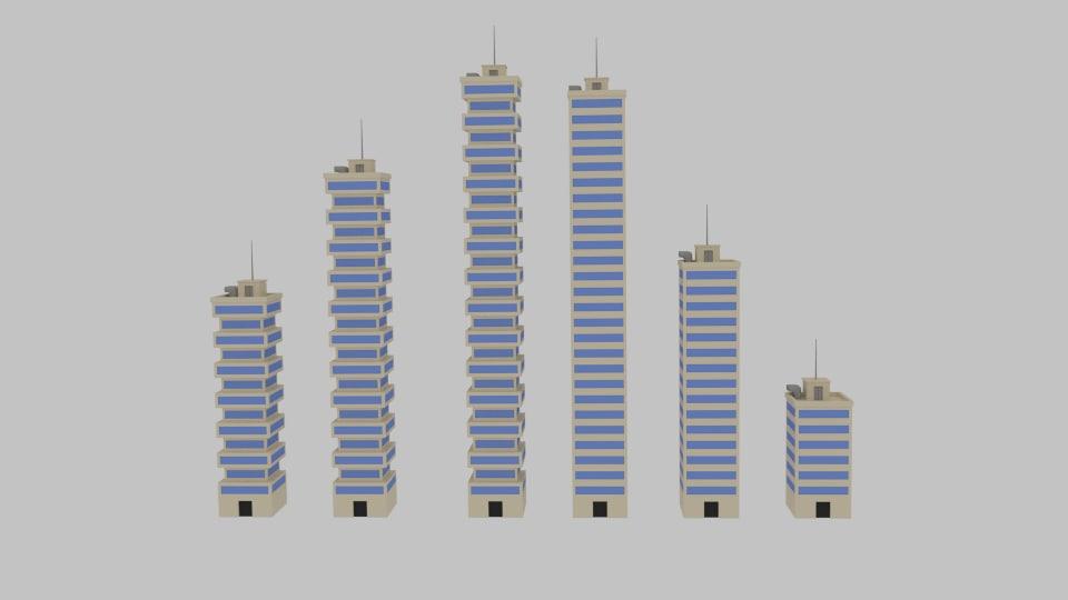 3d model toon skyscrapers pack