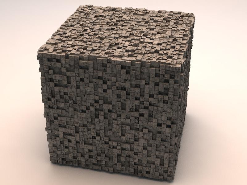 3d model sci-fi shapes - cube