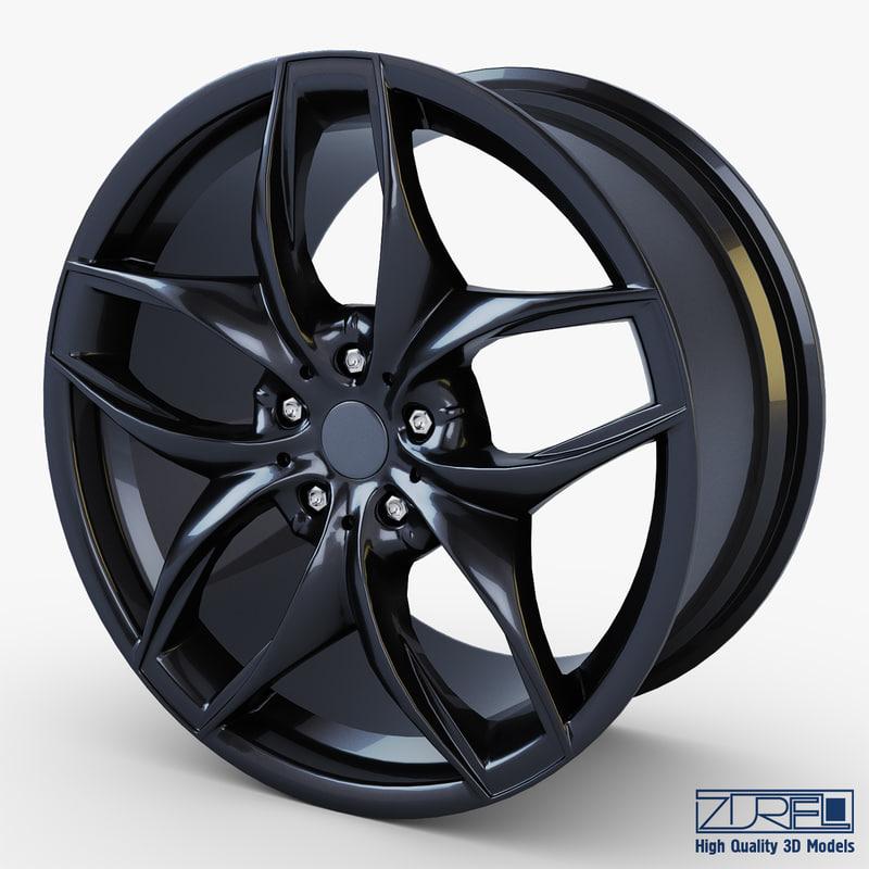 3d model style 215 wheel black