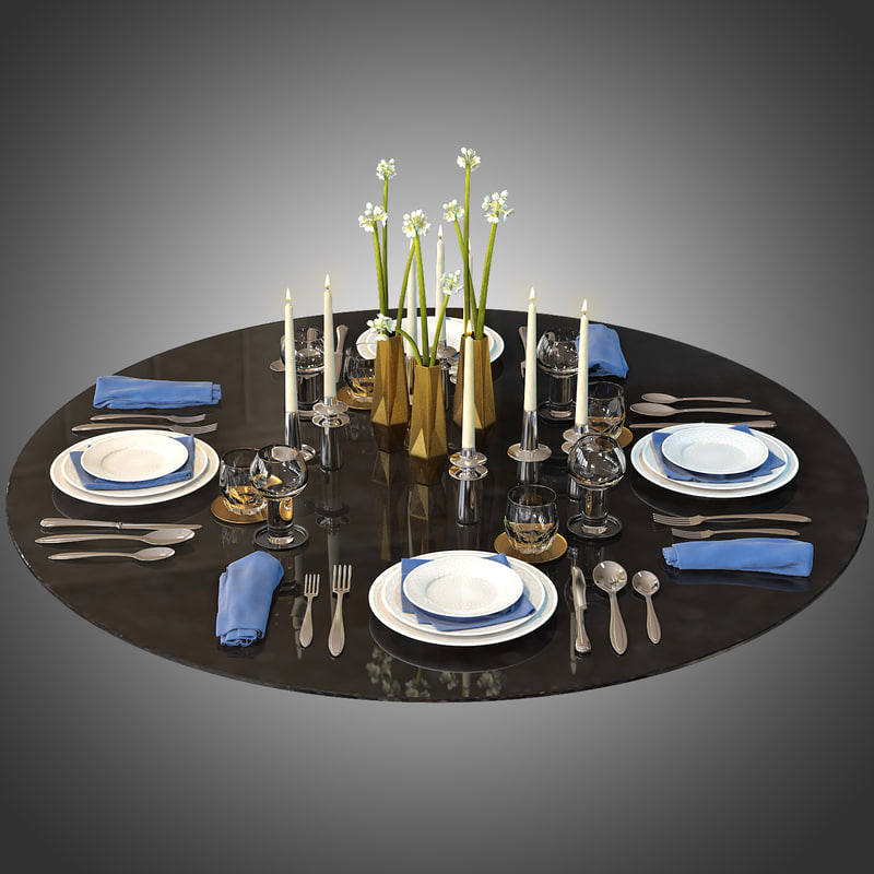 3ds max tableware decor set