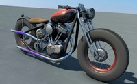 custom bobber panhead motorcycles 3d model
