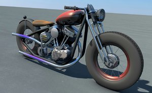custom bobber panhead motorcycles 3d model