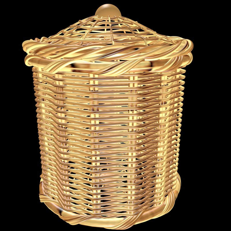 3d model bathroom rattan basket