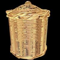 3d model bathroom rattan basket