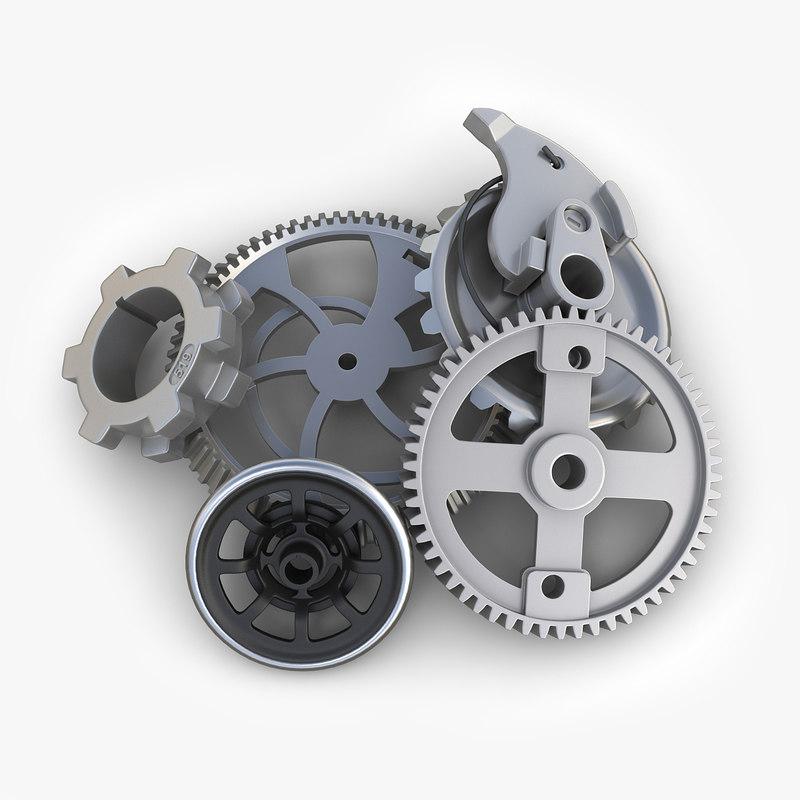 3d model gears set 07 steampunk