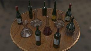 3d wine bottles decanters