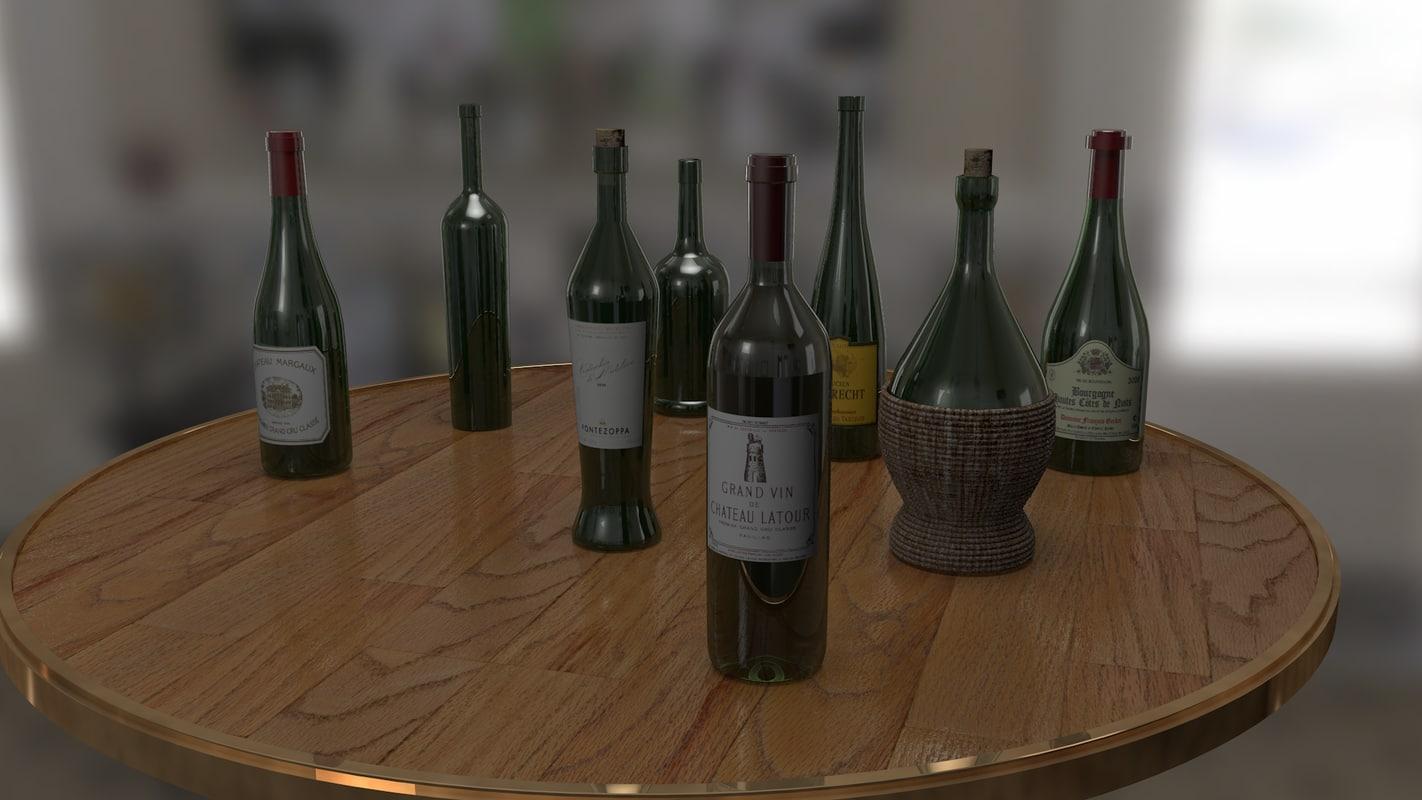 set wine bottle 3d model