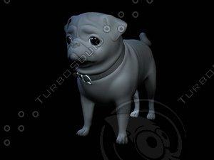 3d model dog pug