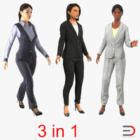 rigged business womans 2 3d max
