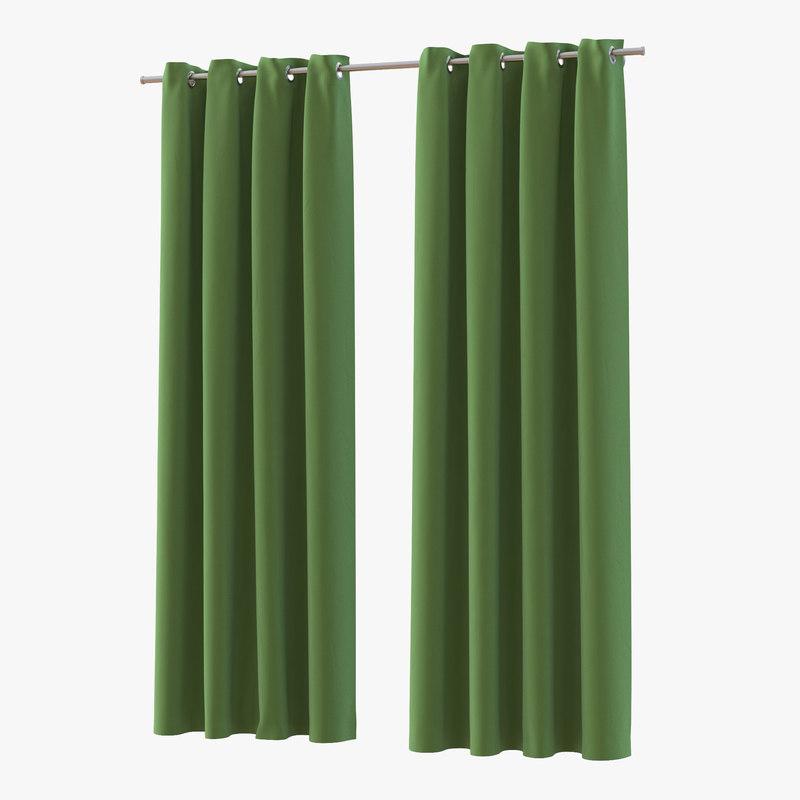3d curtain 3 green