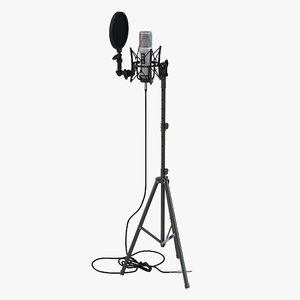 studio microphone stand 3d max