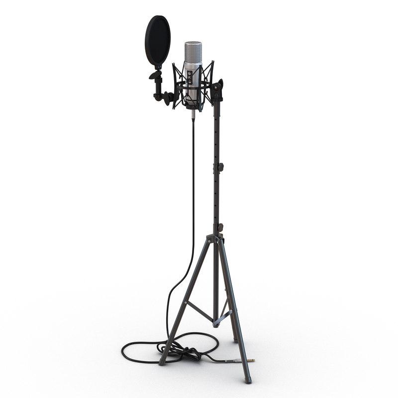studio microphone stand 3d max