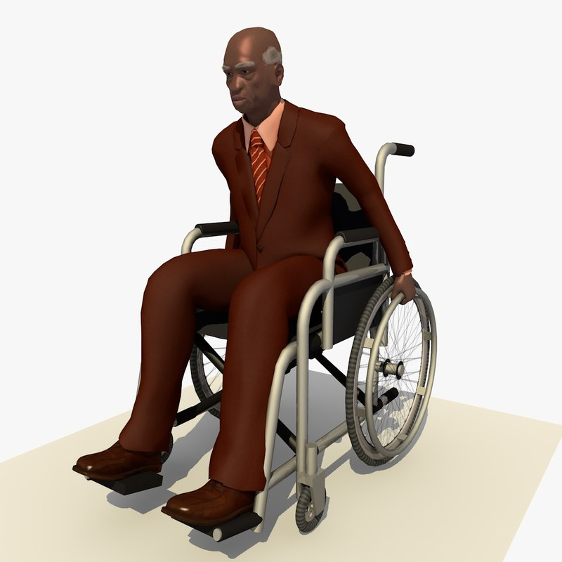 3d model old african man wheel chair
