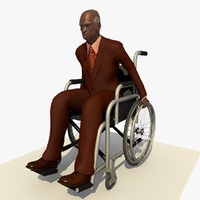 Disabled African Old Man and Wheel Chair Animated