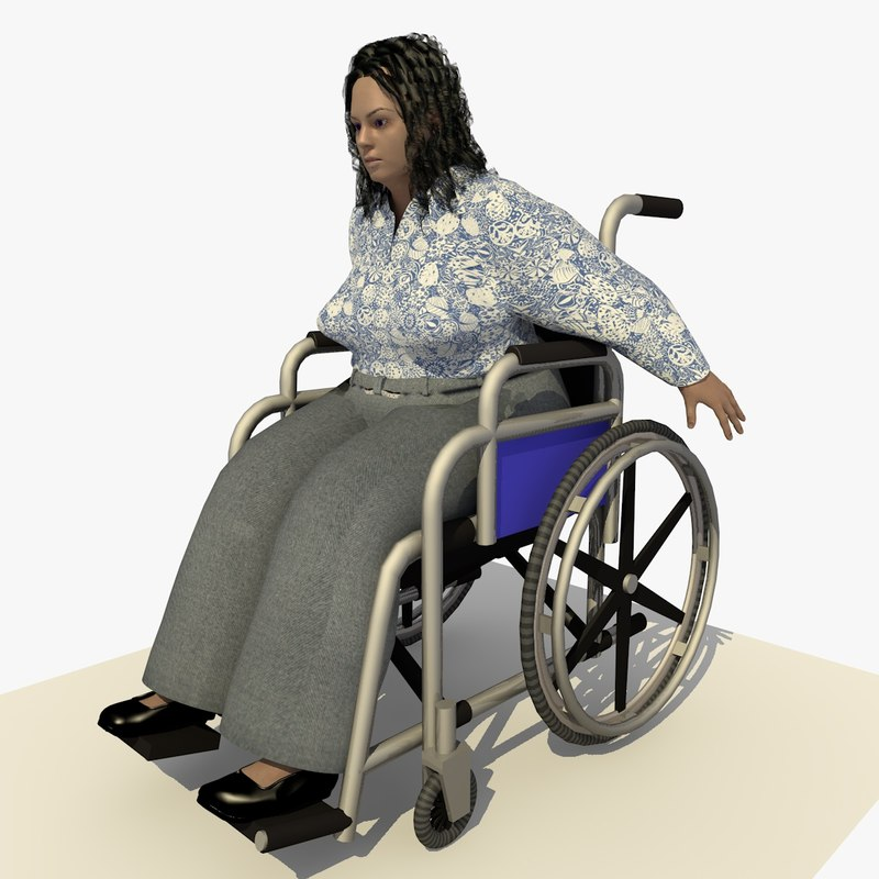 european woman wheel chair c4d