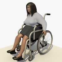 asian woman wheel chair c4d