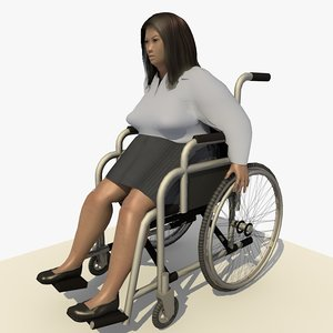 3d model asian woman wheel chair