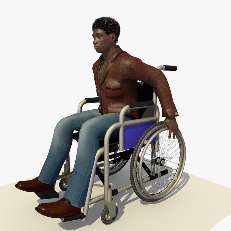 young man wheel chair 3d c4d