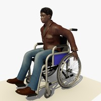 3d model young man wheel chair