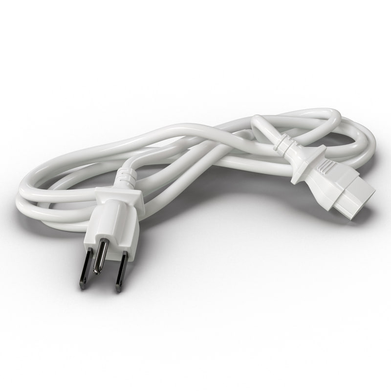 power cord white 3d model