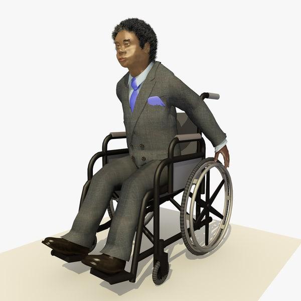 fbx african business man wheel chair
