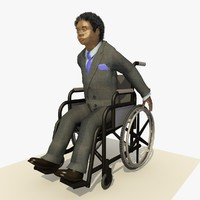 fbx african business man wheel chair