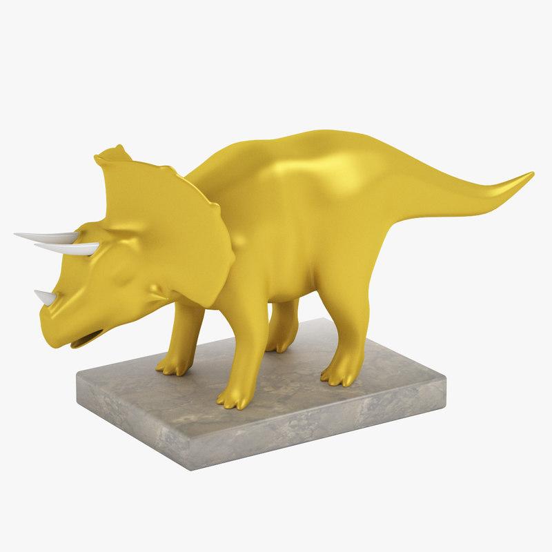 3d triceratops dinosaur statuette model