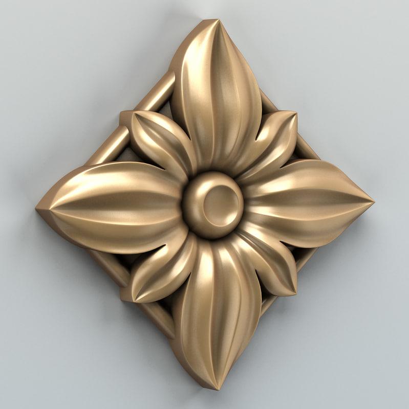 3d model square rosette