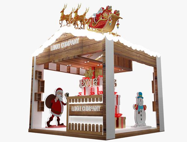 3d christmas kiosk booth model